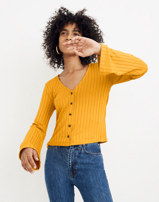 Bell-Sleeve Cardigan Top in nectar gold image 2