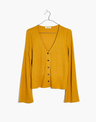 Bell-Sleeve Cardigan Top in nectar gold image 4