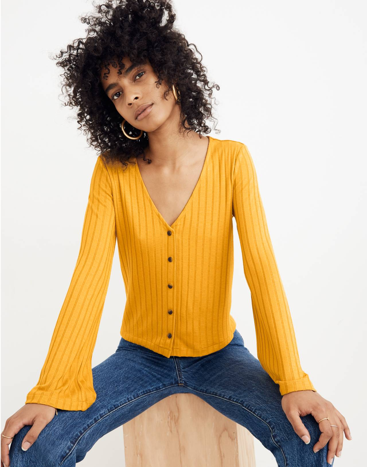Bell-Sleeve Cardigan Top in nectar gold image 1