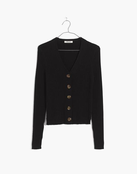 Shrunken Ribbed Cardigan Sweater in true black image 1