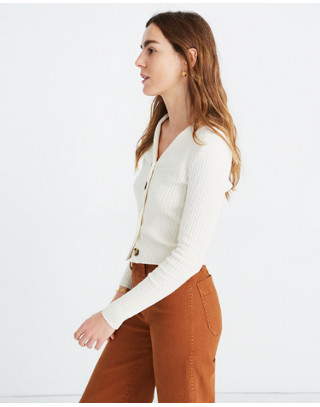 Shrunken Ribbed Cardigan Sweater in pearl ivory image 2