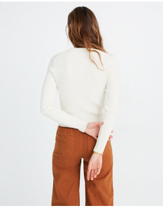 Shrunken Ribbed Cardigan Sweater in pearl ivory image 3