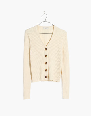 Shrunken Ribbed Cardigan Sweater in pearl ivory image 4