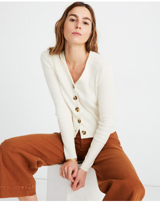 Shrunken Ribbed Cardigan Sweater in pearl ivory image 1