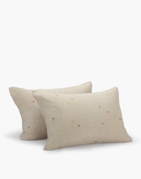 Coyuchi® Embroidered Linen Pillow Sham in natural image 1