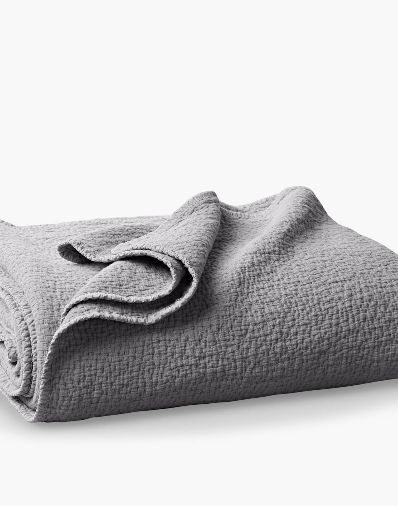 Coyuchi® Cascade Organic Cotton Matelasse Blanket in gray image 1