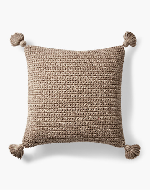 Coyuchi® Crocheted Tassel Organic Cotton Pillow Cover in brown image 1