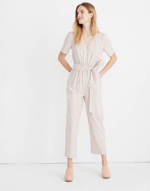 Tall Striped Puff Sleeve Tapered Jumpsuit by Madewell