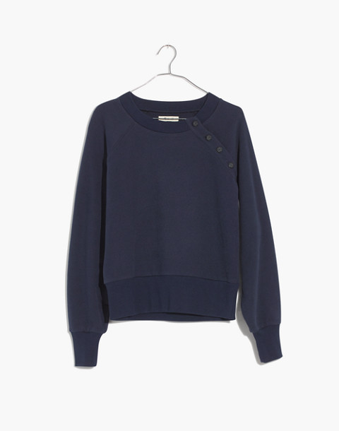 Button-Detail Sweatshirt in deep navy image 1