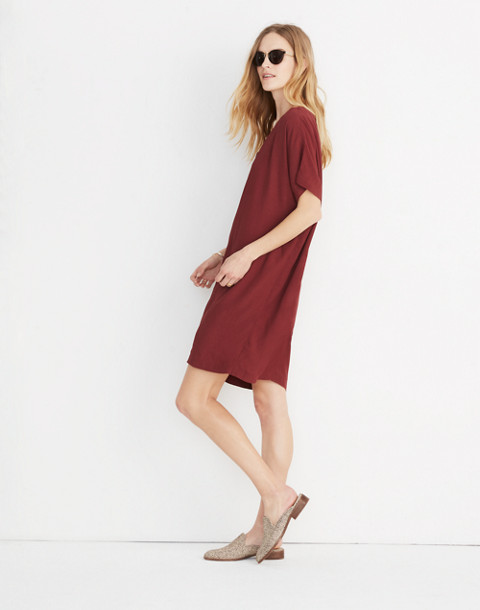 Button-Front Easy Dress in rich burgundy image 2