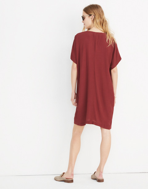 Button-Front Easy Dress in rich burgundy image 3
