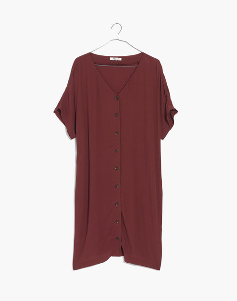 Button-Front Easy Dress in rich burgundy image 4