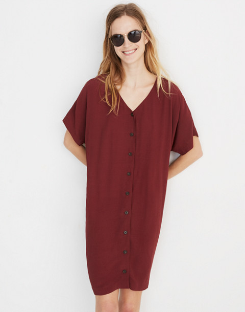 Button-Front Easy Dress in rich burgundy image 1