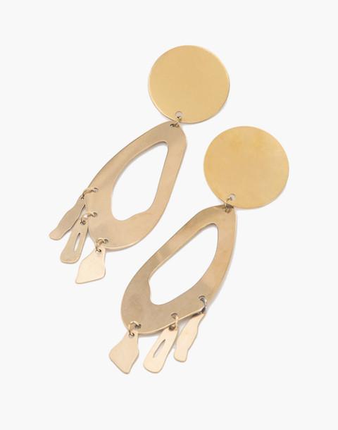 Modern Weaving™ Lobe Chandelier Earrings in brass image 1