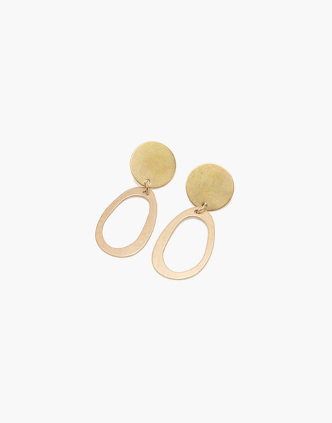 Modern Weaving™ Mini Oval Earrings in brass image 1