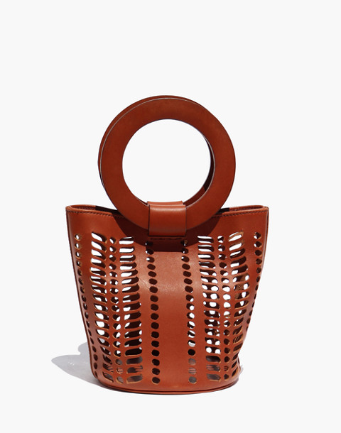 Modern Weaving™ Mini Jute Circle Handle Bucket Bag in brown image 1