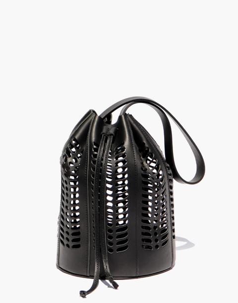 Modern Weaving™ Jute Die Cut Bucket Bag in black image 1