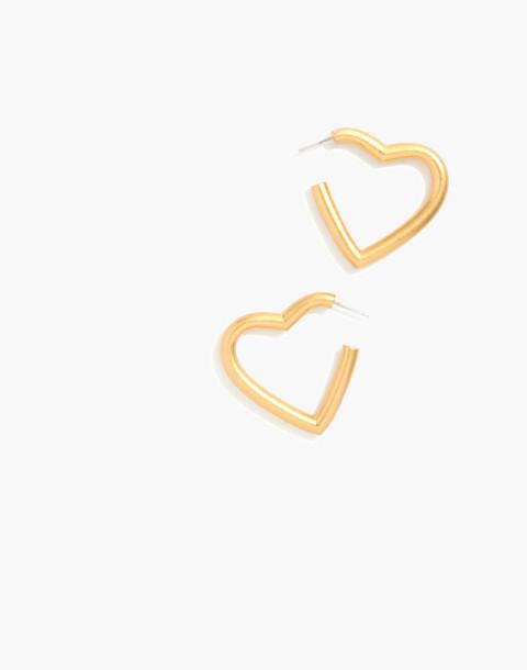 Chunky Heart Hoop Earrings in vintage gold image 1