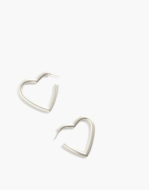 Chunky Heart Hoop Earrings in light silver ox image 1