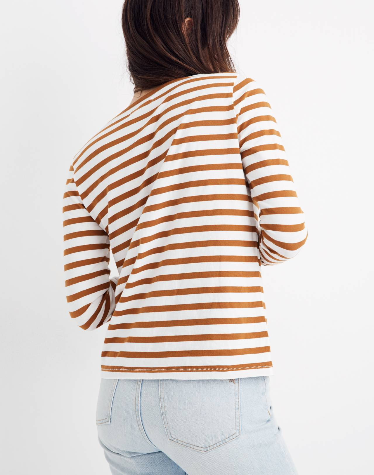 Northside Long-Sleeve Vintage Tee in Stripe in golden pecan dove stripe image 3