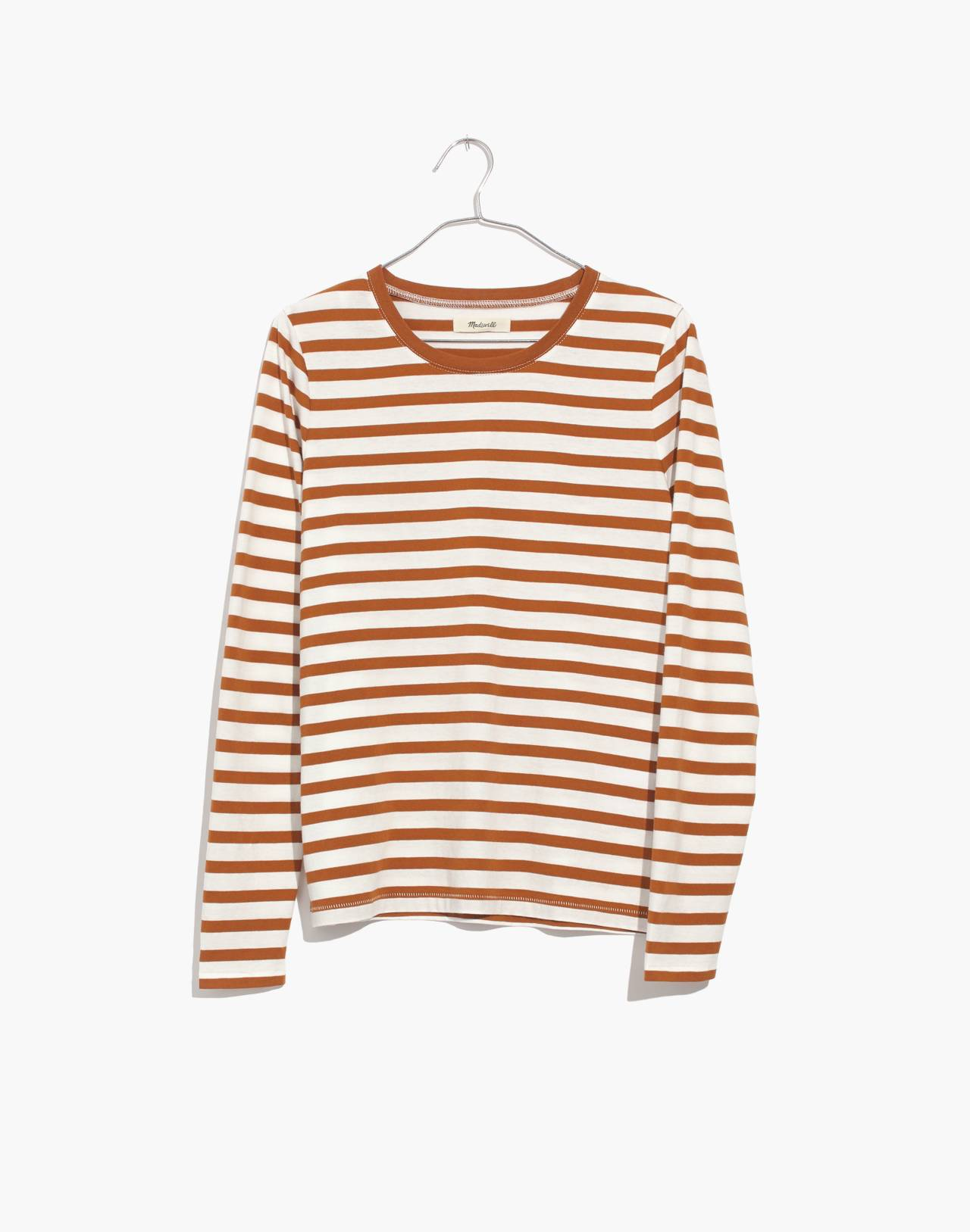 Northside Long-Sleeve Vintage Tee in Stripe in golden pecan dove stripe image 4