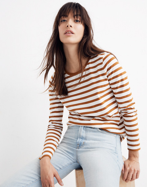 Northside Long-Sleeve Vintage Tee in Stripe in golden pecan dove stripe image 1