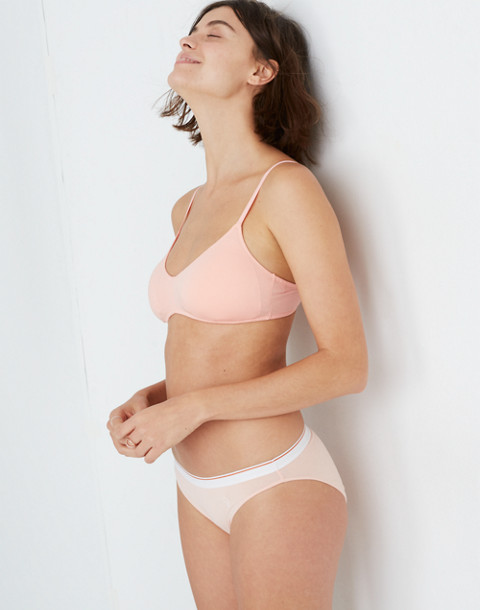 Madewell x Girls Inc. Cotton-Modal® Bikini in Sport Stripe in blanched coral image 2