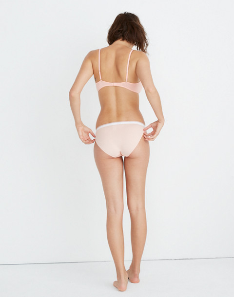 Madewell x Girls Inc. Cotton-Modal® Bikini in Sport Stripe in blanched coral image 3