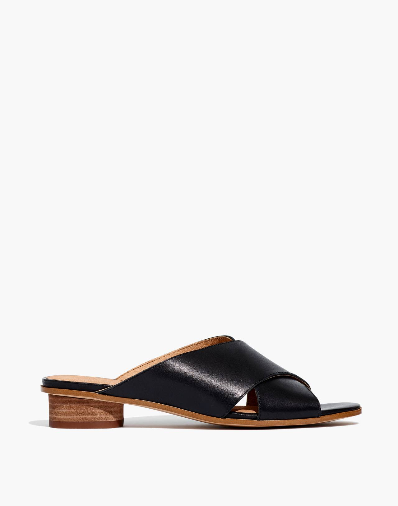 The Ruthie Crisscross Mule in Leather in true black image 2