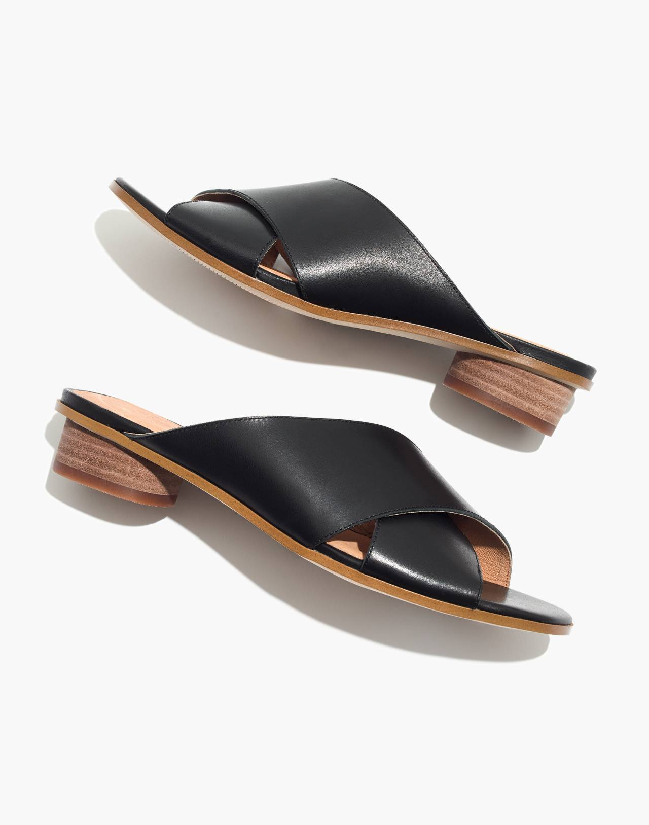 The Ruthie Crisscross Mule in Leather in true black image 1