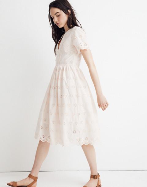Petite Scalloped Eyelet Midi Dress in lucid pink image 2