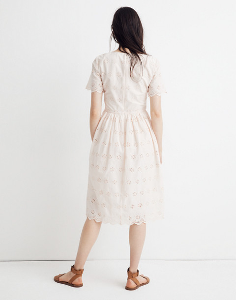 Petite Scalloped Eyelet Midi Dress in lucid pink image 3