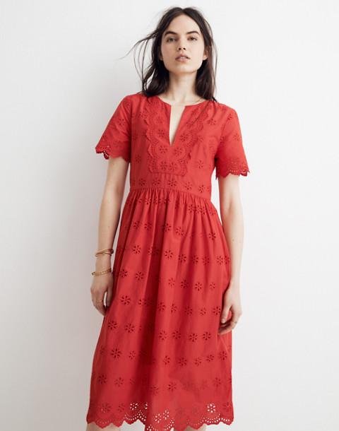 Scalloped Eyelet Midi Dress in prairie floral enamel red image 2