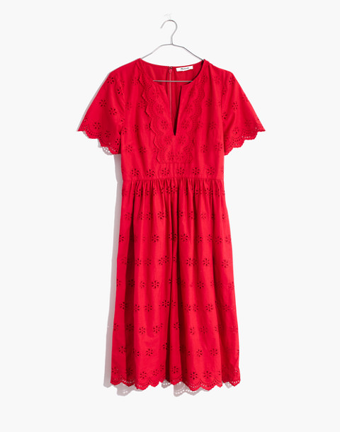 Scalloped Eyelet Midi Dress in prairie floral enamel red image 4