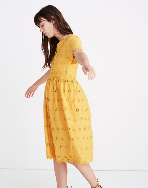 Scalloped Eyelet Midi Dress in tungsten glow image 2
