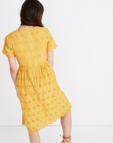 Petite Scalloped Eyelet Midi Dress in tungsten glow image 3
