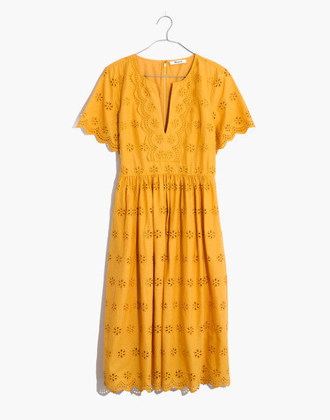 Petite Scalloped Eyelet Midi Dress in tungsten glow image 4
