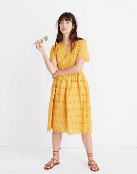 Petite Scalloped Eyelet Midi Dress in tungsten glow image 1