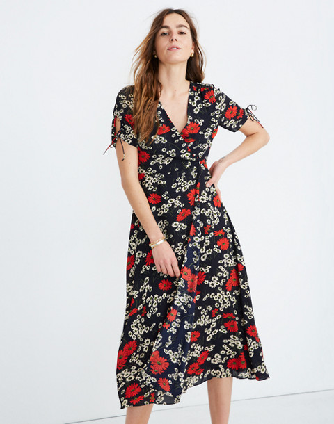 Peekaboo-Sleeve Midi Dress in Hillside Daisies in multi daisy deep indigo image 2