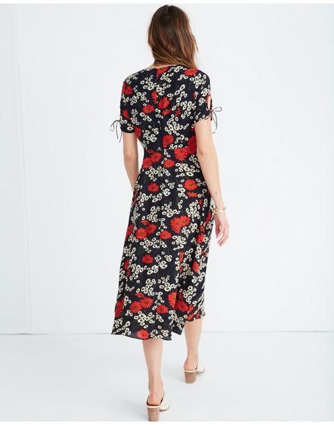 Peekaboo-Sleeve Midi Dress in Hillside Daisies in multi daisy deep indigo image 3