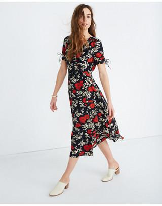 89d8e70c65 Shoptagr | Peekaboo Sleeve Midi Dress In Hillside Daisies by Madewell