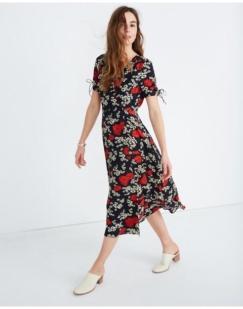 Peekaboo-Sleeve Midi Dress in Hillside Daisies in multi daisy deep indigo image 1