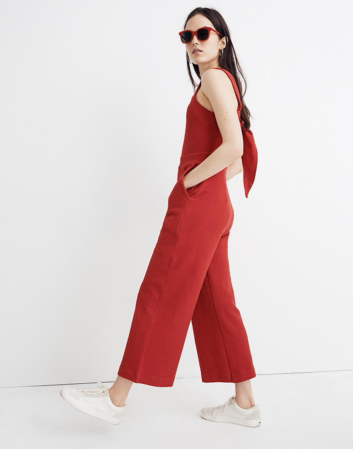 0b52dfbf2d Texture   Thread Apron Bow-Back Jumpsuit
