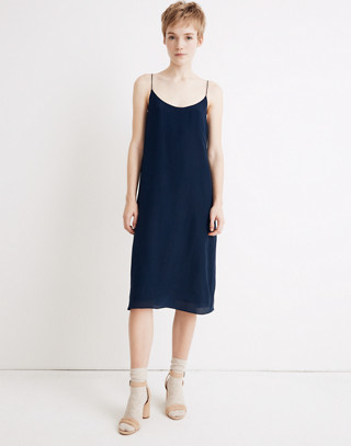Silk Tie-Back Slip Dress in deep navy image 1