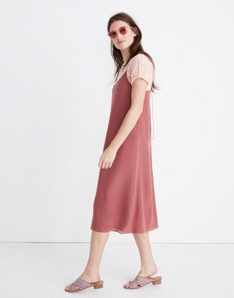 Silk Tie-Back Slip Dress in autumn berry image 2