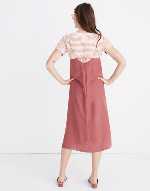 Silk Tie-Back Slip Dress in autumn berry image 3