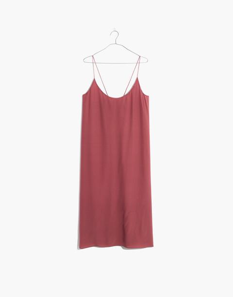 Silk Tie-Back Slip Dress in autumn berry image 4