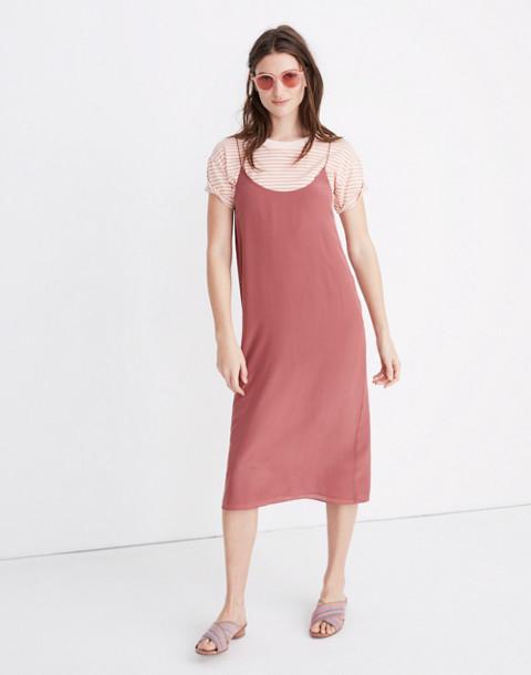 Silk Tie-Back Slip Dress in autumn berry image 1