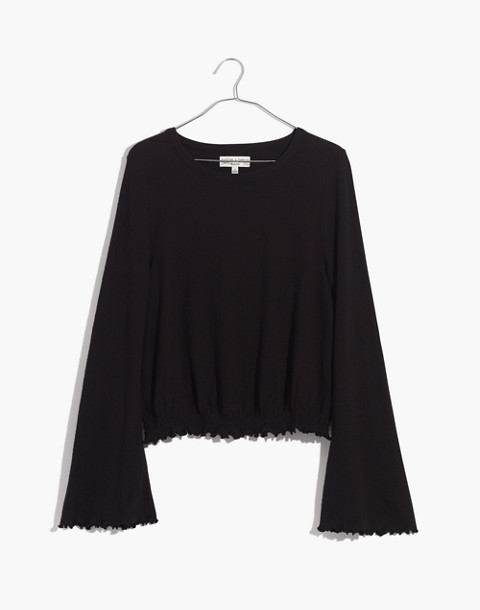 Texture & Thread Smocked Bell-Sleeve Top in true black image 4