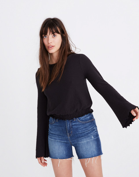 Texture & Thread Smocked Bell-Sleeve Top in true black image 1